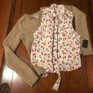 Forever 21 Cherry Snap Front Tie Waist Blouse